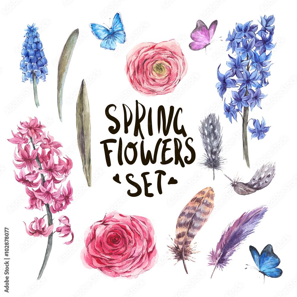 Zestaw elementów akwarela wiosna natura <span>plik: #102878077 | autor: depiano</span>