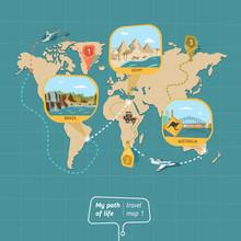 Cartoon Travel Map