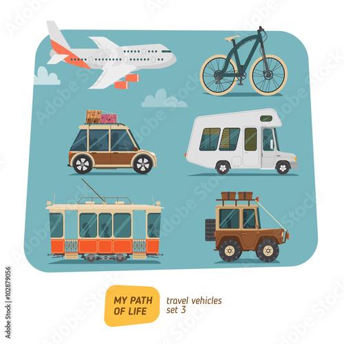 Staande foto Cartoon cars Vehicles collection vector illustration