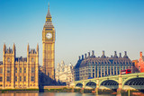 Fototapeta Londyn - Big Ben and westminster bridge in London