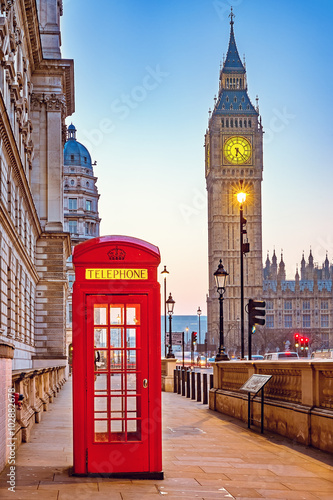 Traditional red phone booth and Big Ben in London Canvas Print