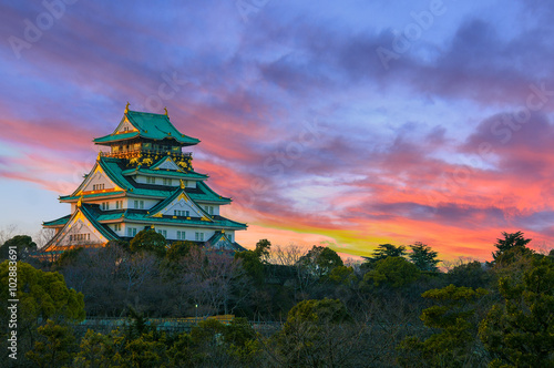 Wall Murals Castle Amazing sunset Image of Osaka Castle