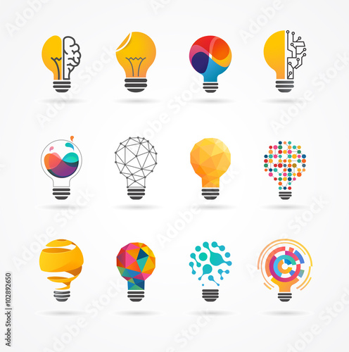 Obraz Light bulb - idea, creative, technology icons - fototapety do salonu