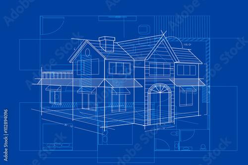 Obraz Blueprint of Building - fototapety do salonu
