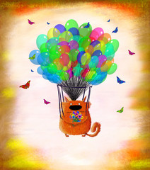 Fototapeta Kot Cat With Flowers Flying On Colorful Balloons