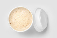 Top View Of Paper Cup Mix Latte Coffee Foam, White Background