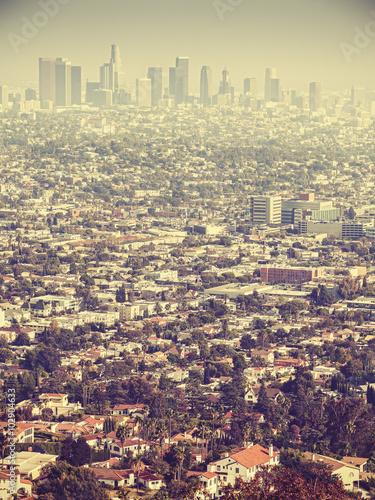 Plakat Retro stylizowany widok z lotu ptaka Los Angeles widzieć smog, usa