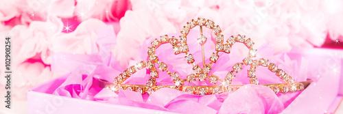Shiny tiara on a pink background