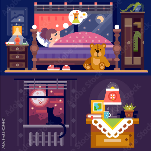 Spoed Foto op Canvas Violet It's sleeping time! Dreaming girl in cozy bedroom full of nice furniture and objects: table lamp, book, bed, teddy bear, cat on windowsill, cupboard, window with full moon. Flat vector illustration.
