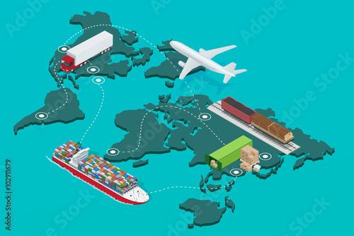 Fotografía  Global logistics network Flat 3d isometric  illustration Icons set of air cargo