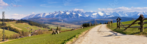 Poster Panoramafoto s South Poland Panorama with snowy Tatra mountains in spring,