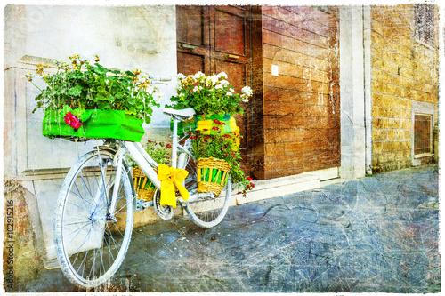 Deurstickers Fiets vintage floral bike - charming street decoration