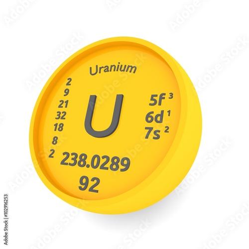 Uranium Chemical Element Symbol Buy This Stock Illustration And