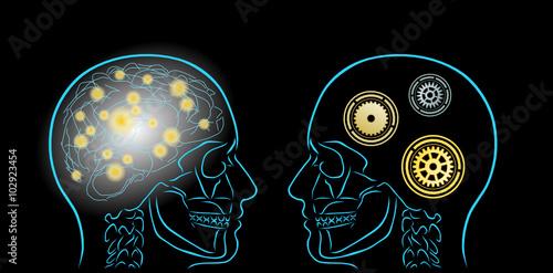 Fotografie, Obraz  dwie myśli i symbole kół zębatych
