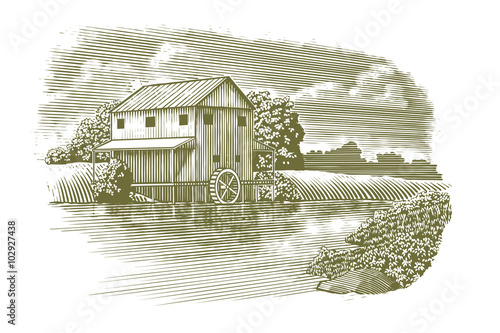 Valokuva  Woodcut-style illustration of a mill with a river flowing by.