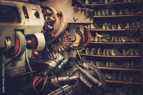 Shoemaker studio craft grinder and polishing machine.