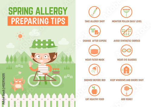 Fotografie, Obraz  healthcare infographic cartoon character about spring allergy pr