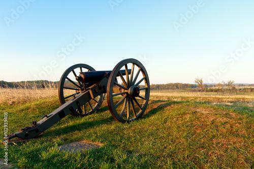 Fotografie, Obraz  Color DSLR stock image of a civil war cannon in a field at Gettysburg, Pennsylvania battle memorial