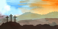 Easter Scene With Cross. Jesus...