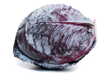 Close Up View Of A Purple Cabbage  (Brassica Oleracea Var. Capitata F. Rubra) Isolated On A White Background.