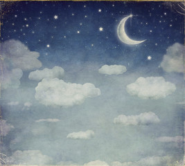 Fototapeta Niebo Illustration of a night sky with fantastic moon and stars