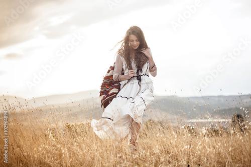 Bohemian woman in the field Canvas Print