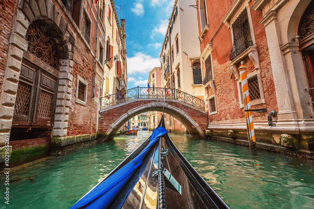 Fototapety, obrazy: View from gondola during the ride through the canals of Venice i
