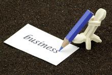 Männchen Aus Holz Schreiben Auf Eine Das Wort Business