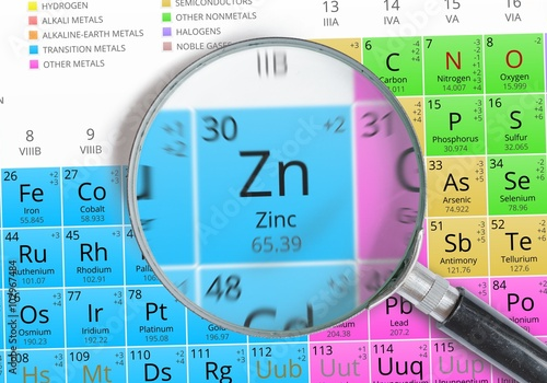 Zinc element of mendeleev periodic table magnified with magnifying zinc element of mendeleev periodic table magnified with magnifying glass urtaz Choice Image
