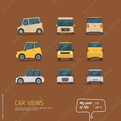 Staande foto Cartoon cars Cartoon views car set