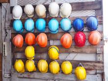 Old Colrful Construction Helmets