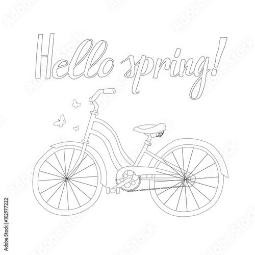 In de dag Doodle Outline of a Bicycle with the words Hello Spring