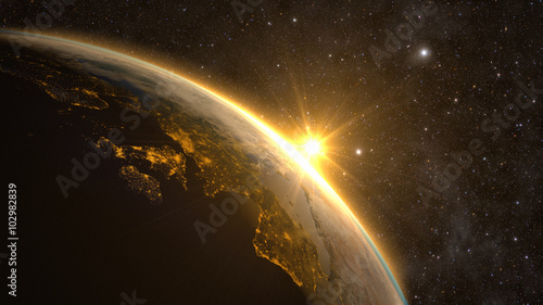 Tuinposter Heelal Planet Earth with a spectacular sunrise, view on Europe and Africa.