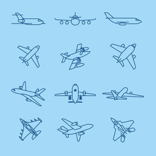 Airplane And Aircraft Thin Line Dark Blue Icons On Blue Background. Vector Illustration