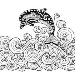 Fototapeta Delfin Hand drawn zentangle dolphin with scrolling sea wave for coloring book for adult