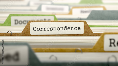 Folder in Colored Catalog Marked as Correspondence Closeup View Wallpaper Mural