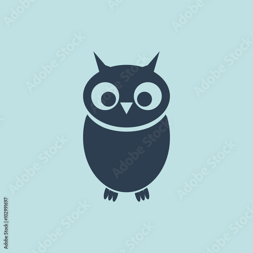 Photo Stands Owls cartoon Icon of Owlet. EPS-10.