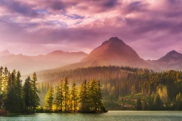 FototapetaSunset over a lake in high mountains