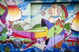 Mur de graffitis colorés