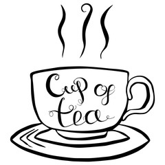Naklejka Cup Of Tea Lettering Vector Illustration