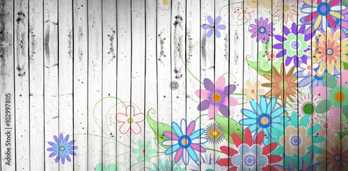 Composite image of digitally generated girly floral design
