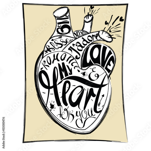 Cartoon Drawing The Human Heart On Yellow Background Comics Design