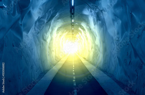 Tunnel with light coming from the exit.