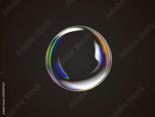 Fototapeta Transparent rainbow soap bubble vector. obraz