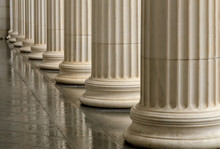 Many Old Greek Columns With Re...