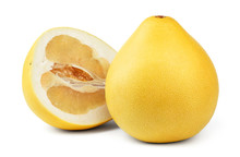 Ripe Pear-shaped Pomelo Fruit And A Half Of Pomelo Isolated On White Background.