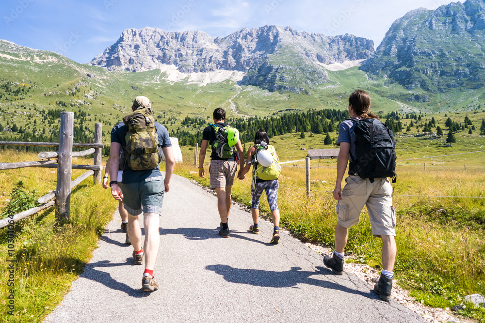 Fototapety, obrazy: group of friends on a trip through the mountains, climbers before climbing to the top