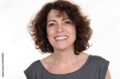 Obraz na plátně woman brunette smiling portrait over a white background