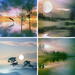 Set beautiful colorful natural landscape.