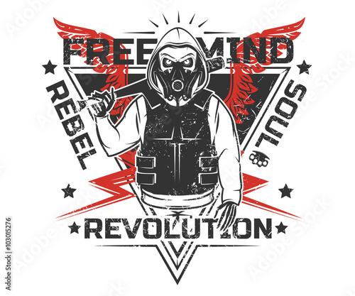 Fotografija  Set of rebel skull and revolution skeleton black and white print for t shirt